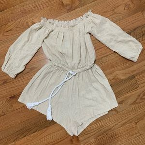 Romper with white rope around waist